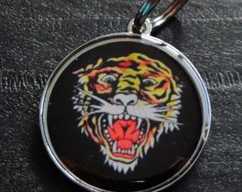 Black Tiger dog or cat Pet ID Tag Dog Tag Cat Tag