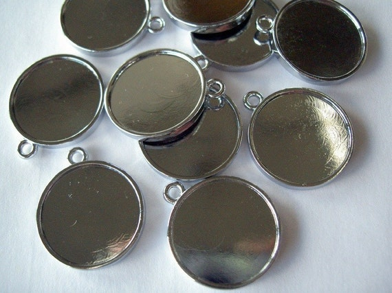 """7/8"""" Round Double-sided Bezel Cups Blanks to fill with epoxy resin for Jewelry  - 10 pieces"""