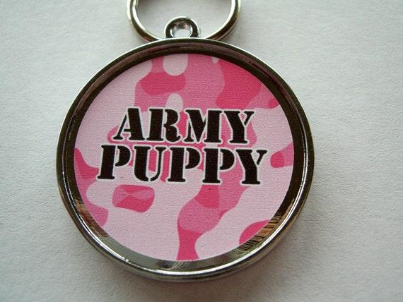 Pink Camouflage Army Puppy Military Pet ID Tag Personalized