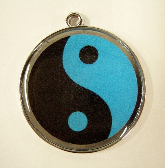 Very Zen Blue and Black Yin and Yang Pet ID Tag Dog Tag Cat Tag