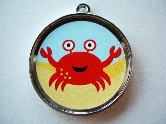 Cute Ocean Red Crab Pet ID Tag Dog Tag Cat Tag