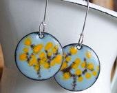 Enamel, Enamel Earrings:  Enamel on Copper Spring Tree Earrings with Yellow Blooms on Sterling Earwires, Abstract Trees