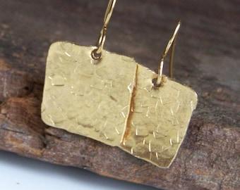 Hammered Earrings, Metalwork Earrings, Gold Earrings, Square Earrings, Hammered Brass Square Earrings, Jewelry, Gift, Etsy, Etsy Jewelry