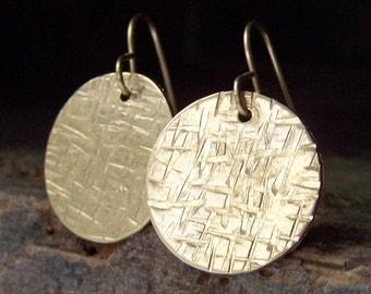 Criss Hammered Earrings, Criss Cross Brass Disc, Disc Earrings, Gold Earrings, Jewelry, Gift, Golden Disc Earrings, Etsy, Etsy Jewelry