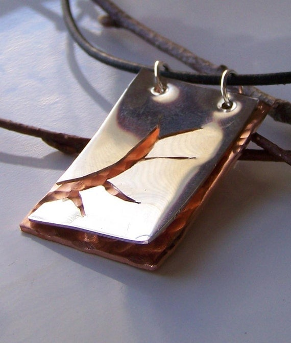50% OFF SALE Hand Sawed Sterling Shining Sun over Copper Pendant Necklace