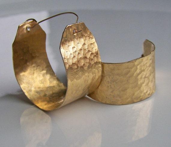 Brass Hoop Earrings: Wide Hand Hammered Hand Forged, Earrings, Boho Chic, Gypsy Earrings, Etsy Jewelry, Jewelry