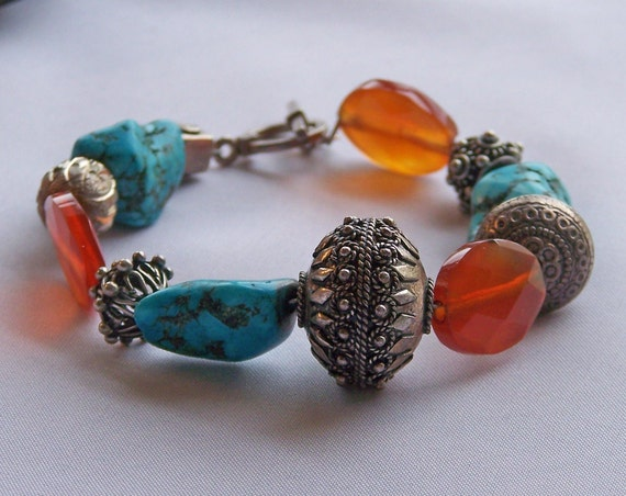 SALE ON TOP OF A SALE Turquoise and Carnelian Sterling Silver Beaded Bracelet