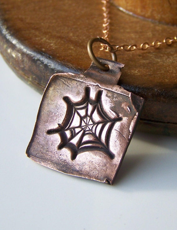 25% off COUPON IN AUGUST Spider Web Necklace Copper Metal Clay, Etsy Jewelry, Jewelry, Gift