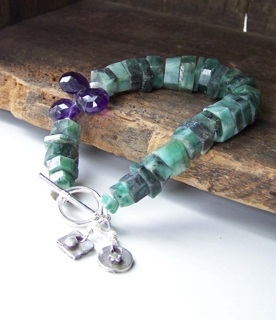 RESERVED FOR ASHLEY,  Emerald Bracelet with Amethyst Briolettes and Fine Silver, Pmc Charms, Amethyst, Bracelet, Beaded Bracelet,