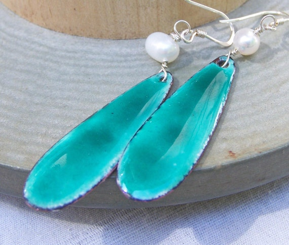 Enamel Earrings, Turquoise Teardrop Enamel Earrings with Freshwater Pearls, Etsy Jewelry, Enamel, Jewelry, Gift
