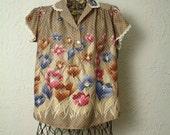 Polka dot flower print blouse