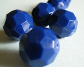 blue boulders - super large and faceted vintage lucite beads
