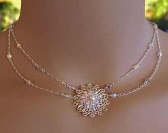 Bridal Necklace and Earring Set - Swarovski Filigree Flower with Aurora Borealis Crystals with Delicate Sterling Silver Chain