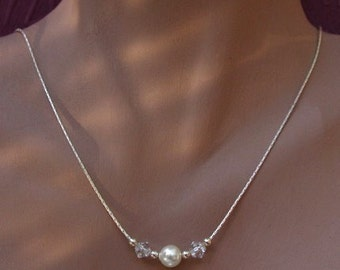 Bridal Necklace - Swarovski Single Pearl and Crystals on Sterling Silver Chain Necklace - Great for Bridesmaids