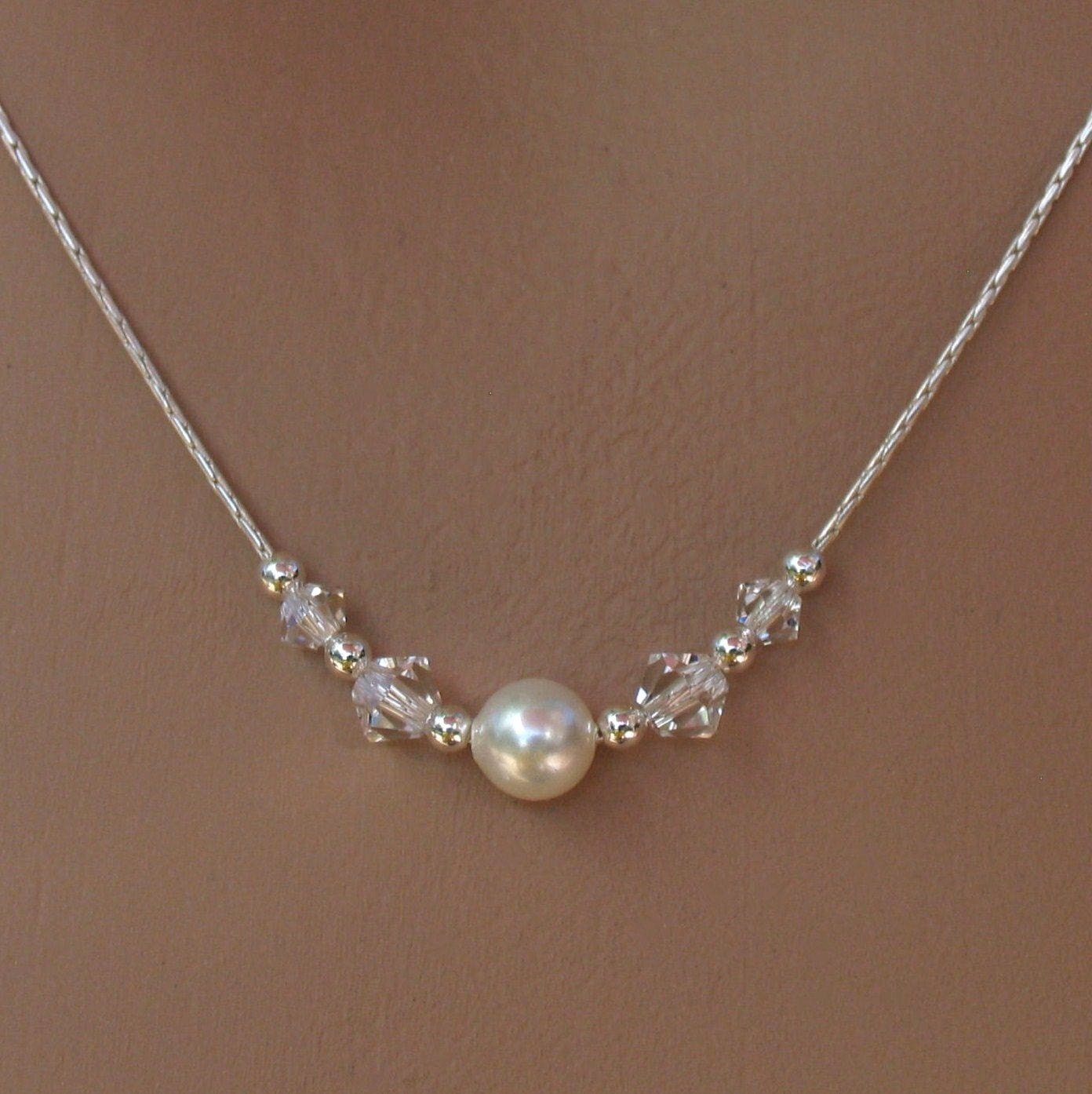 Swarovski single pearl and crystals on sterling silver chain for Simple single