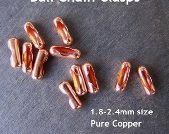 Solid Copper Ball Chain Connectors 2.4mm size - 8 Pack