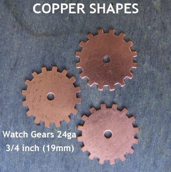 Closed Watch Gear Shaped Copper Stamping Blanks for Charms, Tags or Embellishments