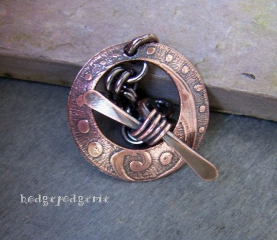 ETCHED HANDFORGED PURE COPPER TOGGLES Handmade Jewelry Finding
