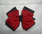 Boutique Style Large Stacked Hair Bow in Red with Black Polka Dots and Black Ribbon