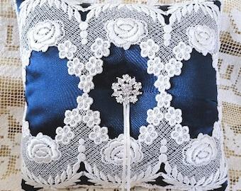 Light Ivory Lace-Deep Blue Victorian  Ring Pillow-OOAK-1