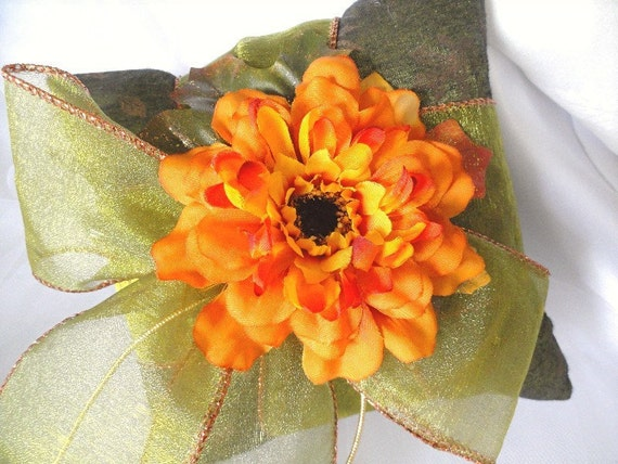 Little Fall Flower Ring Pillow-Oranges-Greens-Copper-Gold