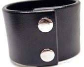 Black leather cuff wristband 2 inch wide American bridle leather Bracelet Handmade for YOU in Brooklyn NYC by Freddie Matara