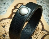Black leather bracelet snap cuff beautiful distressed American Bridle Leather Thin and Sexy handmade for You in NYC by Freddie Matara