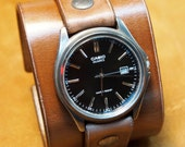 Leather cuff watch Brown wristband Unisex vintage wristwatch Nathan Drake style Uncharted 2 Handmade for YOU in NYC by Freddie Matara!
