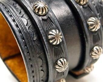 Leather Wrist Cuff Black Traditional American Cowboy ROCKSTAR Bracelet- made for YOU in NYC by Freddie Matara
