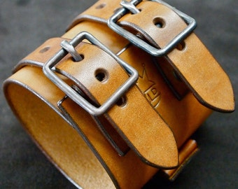 Leather cuff Bracelet Vintage Johnny Depp style wristband watchband made in NYC for YOU by Freddie Matara!