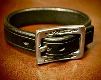 Leather bracelet cuff Lean Black wristband Sexy made in for YOU in Brooklyn NYC by Freddie Matara!