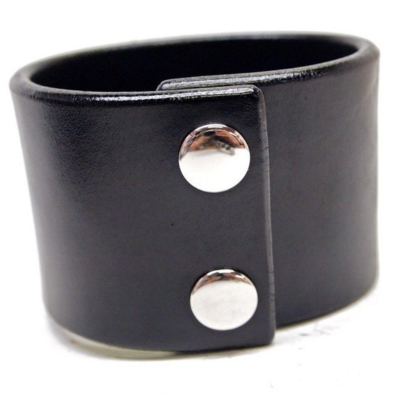 Black leather cuff wristband 2 inch wide American bridle leather Bracelet Handmade for YOU in Brooklyn NYC by Freddie Matara