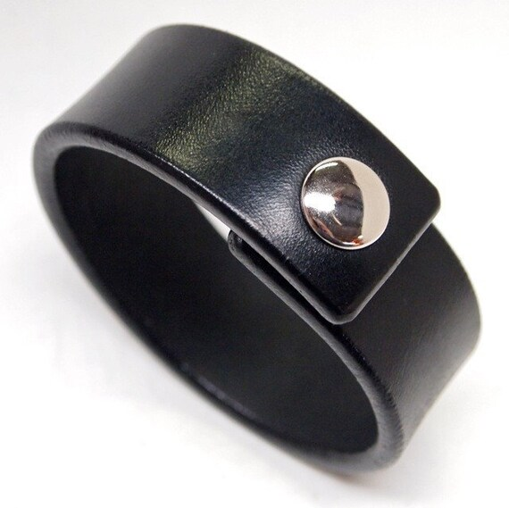 Black Leather wristband American bridle leather cuff 1 inch wide thin and sexy Made for You In NYC by Freddie Matara