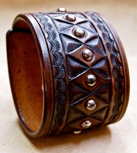 Leather cuff bracelet Brown American Cowboy King Vintage Hand tooled Handcrafted for YOU in NYC by Freddie Matara!