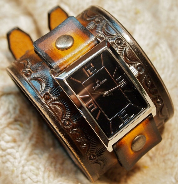 Leather cuff watch Hand tooled in NYC