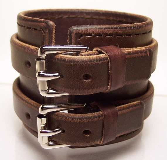 2.5 inch Brown Leather Hand stitched Cuff Bracelet made for YOU in NYC by Freddie Matara