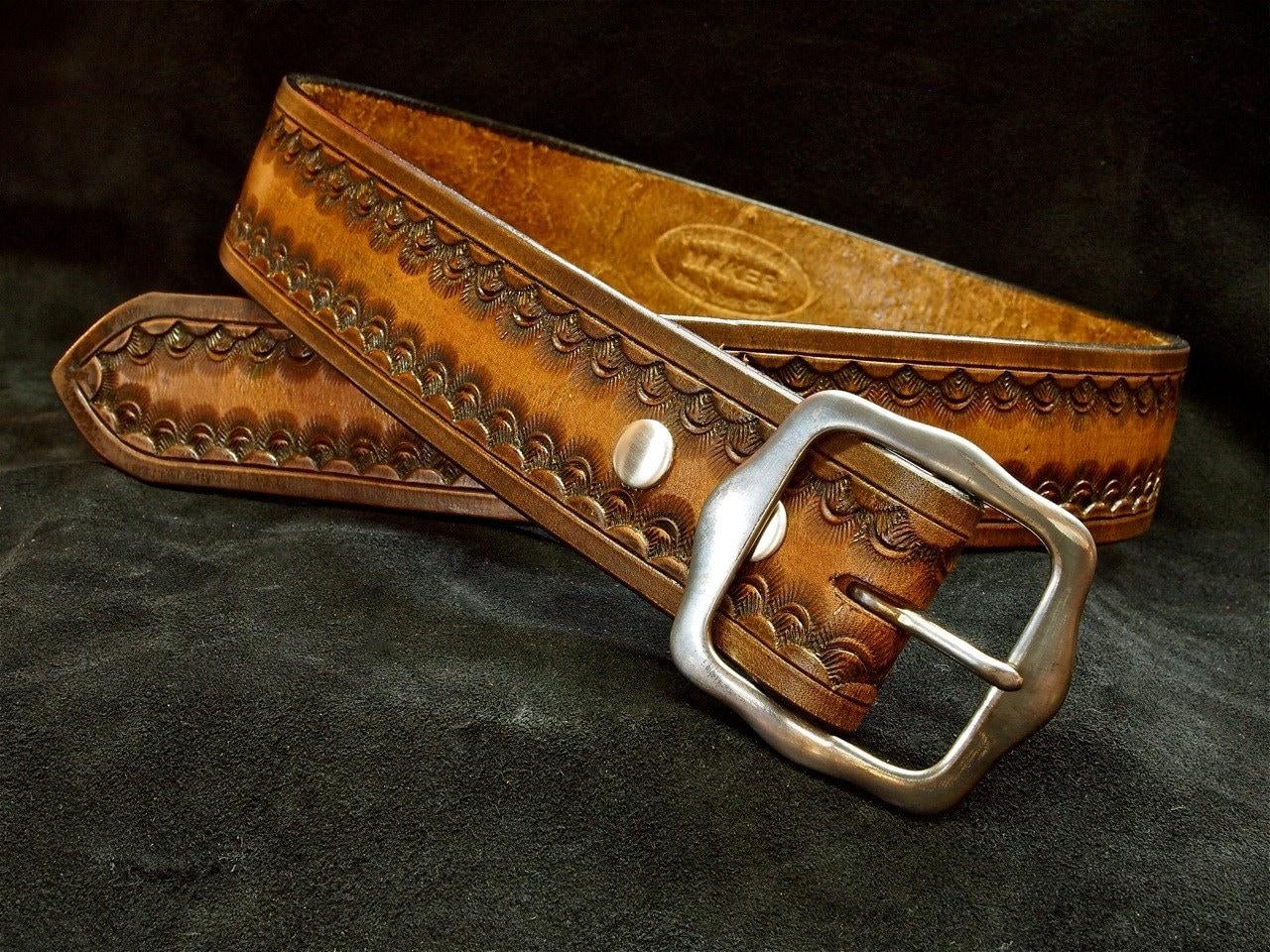 tooled leather belt custom vintage finish by mataradesign