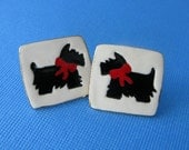 Scottie Dog Earrings Handmade Porcelain Ceramic Jewelry