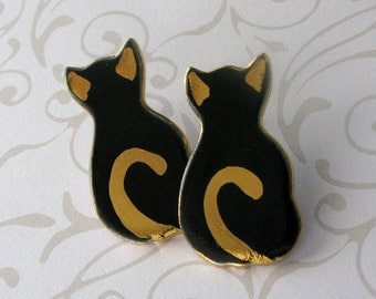 Black Cat Porcelain Post Earrings