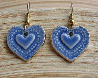 Blue Heart Dangle Porcelain Earrings