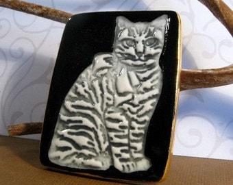 Cat Brooch Handmade Porcelain Jewelry Grey Cat