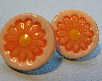 Orange Daisy Flower Earrings Handmade Porcelain Ceramic Jewelry