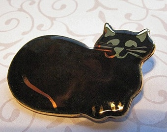Black Cat Brooch Handmade Porcelain Ceramic Jewelry