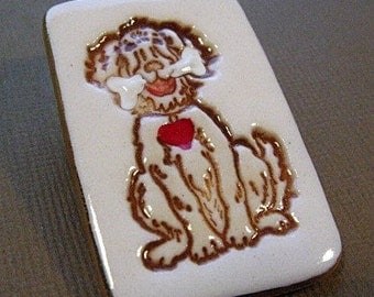 Shaggy Dog Brooch Handmade Porcelain Ceramic Jewelry