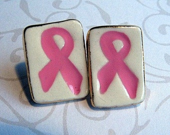 Pink Ribbon Earrings Breast Cancer Handmade Porcelain Jewelry