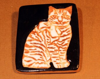 Cat Brooch Brown Tabby Handmade Porcelain Ceramic Jewelry
