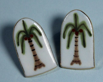 Palm Tree Earrings Handmade Porcelain Ceramic Jewelry