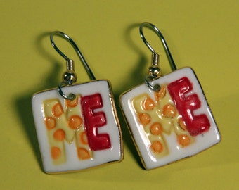 All About Me Earrings Handmade Porcelain Ceramic Jewelry Dangle