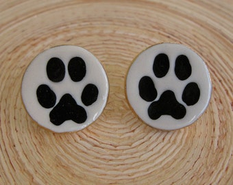 Dog Paw Earrings Handmade Porcelain Ceramic Jewelry