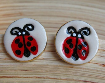 Ladybug Earrings Handmade Porcelain Ceramic Jewelry